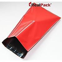 REALPACK® 100 bolsas de plástico rojo para envíos por correo, tamaño de 30 x 40 cm, 305 x 406 mm + 40 mm con cierre de DVD