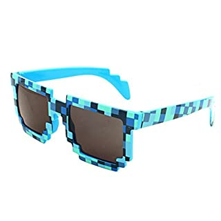 Fat.chot Unisex Sunglasses Square Mosaic Lattice Frame AUV AUB Protective Men Women Vintage Party Novelty Eyewear Fashion Causal UV400 (Blue)