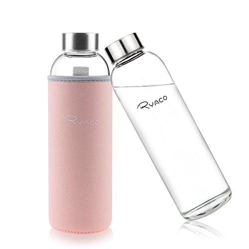 Ryaco Glasflasche Trinkflasche Classic 550ml BPA-frei Glasflasche für Unterwegs Sport Flasche Glas Flasche Water Bottle Wasserflasche Trinkflasche aus Glas zum Mitnehmen heiß kalt Getränke Perfekt für Yoga, Wandern, Büro (Rosa, 550ml)