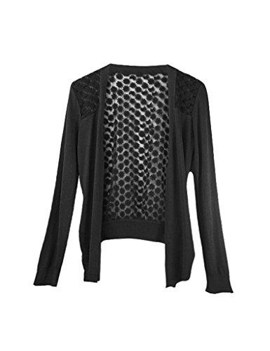 Bestgift Damen lose Strickjacke Causual Pullover Loose Strickjacke Langarm Lässige Strickmantel Schwarz One Size