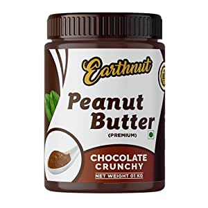 Earthnut Chocolate Peanut Butter Crunchy 1kg (Chocolate Flavor) (Gluten Free | Vegan) | Made with Roasted Peanuts, Cocoa Powder & Choco Chips