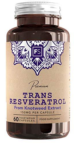 FS Trans-Resveratrol [150 mg], Polyphenol-Extrakt aus japanischem Knöterich   60 vegane Kapseln   HOCHDOSIERT   Natürliches, wirksames, antioxidantisches Nahrungsergänzungsmittel - Ohne GVO & Gluten - Japanischen Knöterich Resveratrol