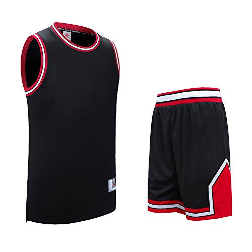 Basketball T-Shirt und Shorts Set für Herren, AresKo Gym Sport Trainingsanzug Schnell Trocknend Breathable Basketball Kleider Set ohne Taschen