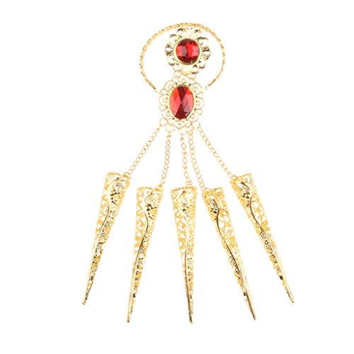 MagiDeal Bauchtanz Zigeuner ägyptischen Gold Armband Fingernägel Künstlichen Roten Schmuck