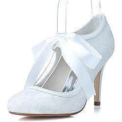 Sarahbridal , Damen Pumps Weiß weiß