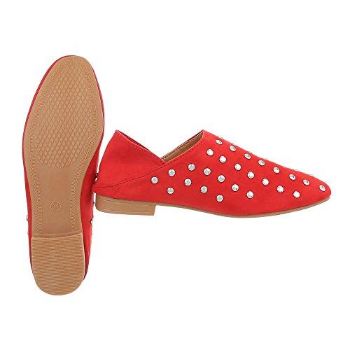 Ital-Design Chaussures Femme Mocassins Bloc Slippers Rouge