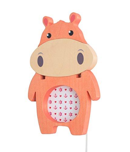 Clevere Kids Kinder Wandlampe Alle Meine Tiere Holz Handarbeit A++ (Nilpferd apricot) -