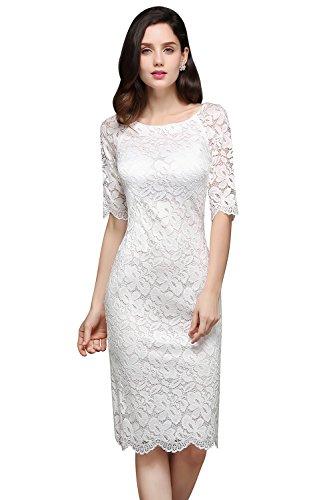 ec00ba2096a3ad Damen Spitzenkleid Elegant Abendkleid Etuikleid Cocktailkleid apart Kleid  Weiss Gr.34