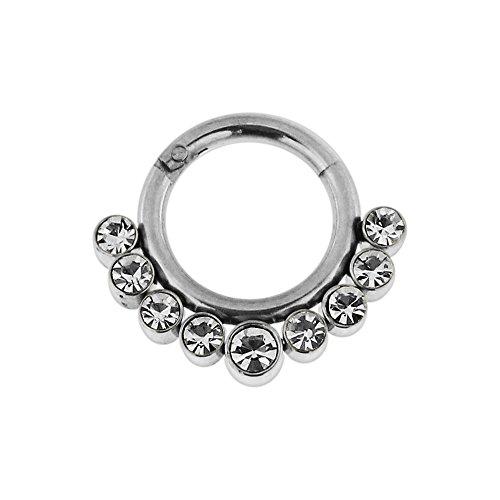 16 Gauge - 7MM Durchmesser Chirurgenstahl 9 Kristallsteinen gepflastert klappbar Segment Septum Nase Piercing Ring