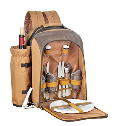 23-tlg. Picknickrucksack FREETIME Farbe: beige / braun, best. aus: 1 abnehmbaren Flaschenhalter, Besteck aus Edelstahl poliert
