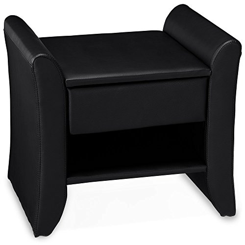 Corium-coussins-table-de-nuit-noir-47cm-x-37cm-x-44cm-table-de-chevet-avec-tiroir-et-surface-de-dpose