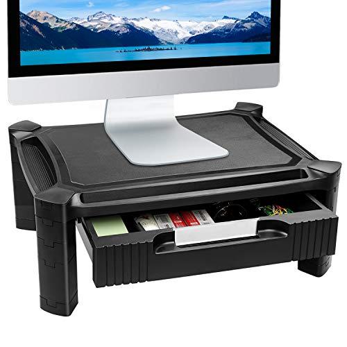 Soporte de Monitor para ordenadores, impresoras - Capacidad máxima de adaptación hasta 30 kg, altura ajustable hasta 16.7cm con gaveta extraíble, ranura para almacenamiento de pluma, gestión de cables
