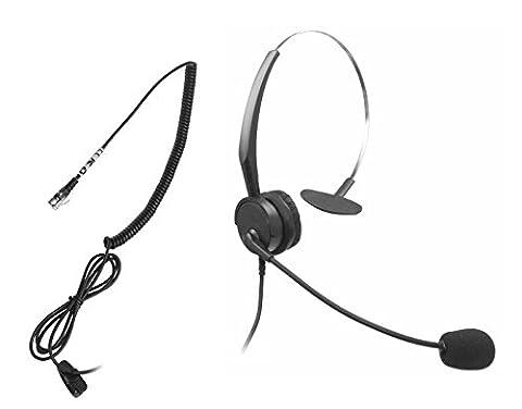Xintronics Bruit mains libres de centre d'appel décommandant l'écouteur monaural attaché d'écouteur avec la tête en cristal de 4-Pin RJ9 et Mic Mircrophone pour le téléphone de bureau téléphonez à conseiller des services, assurance, hôpitaux