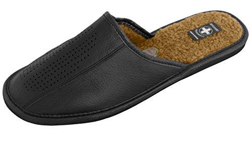 Autntica-piel-de-hombres-zapatillas-chanclas-Mulas-con-suela-anatmica-o-forro-de-lana-Varios-colores