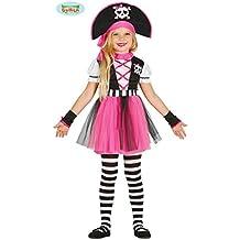 pinkes Piratin Kostüm für Mädchen Piratenkostüm Kinder Piraten Pirat Seeräuberin Kostüm Gr. 110-140