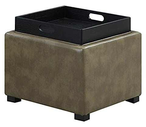 Emerald Home U1101-03-03 Cube Flip Wood Tray Top Storage Ottoman, Olive