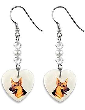 Deutscher Schäferhund Herz Perlmutt Ohrhänger