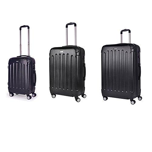 Sunydeal® di set valigie trolley bagaglio rigida in abs 4 ruote ultra leggere 55cm/65cm/75cm new tsa per famiglia nero