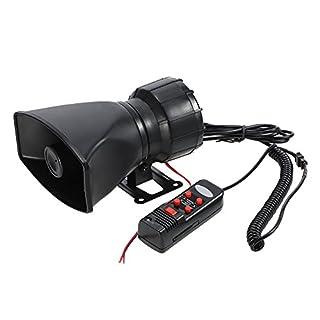 KKmoon 12V 60W 5 Sound Auto Warnung Alarm Polizei Feuer Sirene Horn Loud PA Lautsprecher MIC System