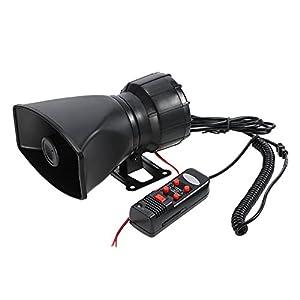 5 sonido con sonido fuerte, ajuste universal para automóviles, furgonetas, motocicletas y barcos con fuente de alimentación de 12V.Caracteristicas: 5 sonido suena para satisfacer diferentes propósitos. Volumen ajustable, se puede utilizar como un MIC...