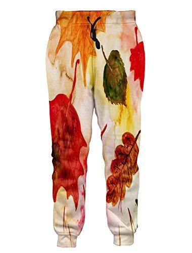 Leapparel Unisex Vintage Blatt Skizze Grafik Design Hipster Stilvolle Jogging Hosen Sweatpants M