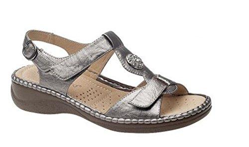 Damen Klettverschluss Band Hinten Sandalen mit Lederfutter Zinn