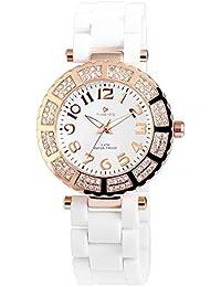 Reloj analógico Timento, plástico, diámetro 40 mm, oro rosa y blanco - 510032500020