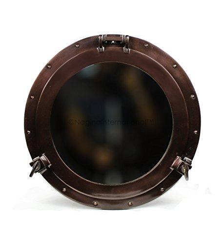 Powder Coated Antique Vintage Nautical Premium Aluminum Pirate's Ship's Porthole Mirrors| Exclusive Wall Decor Accent | Nagina International (17 Inches, Antique Copper)