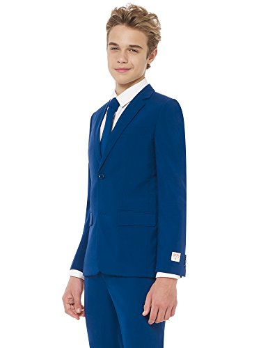 Opposuits Solid Colored Suits For Little Boys and Teen Boys – Navy-Blue, Black and White Outfits Come With Pants, Jacket and Tie