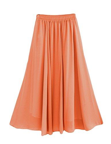 Feoya Damen Sommerrock Boho Retro Maxi Langer Rock Elastische Taille Double Layer Chiffonrock Einfarbig Faltenrock Strandrock Long Skirt Orange - 90 cm