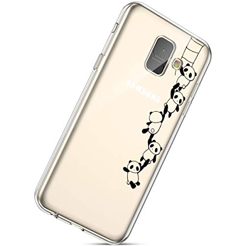 Herbests Kompatibel mit Handyhülle Galaxy A8 Plus 2018 Schutzhülle Silikon hülle Transparent Ultradünn Clear Cover Handytasche Weich Durchsichtig Klar Schutzhülle Case Cover Tasche,Lustig Panda