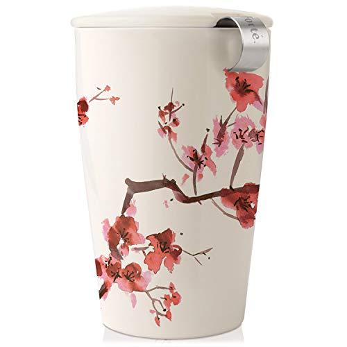 Keramikbecher Kati mit Teesieb und Deckel von Tea Forté, zum Aufgießen von Blatttees, Cherry Blossoms