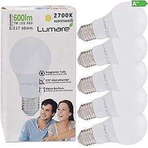 Lumare E27 LED Lampe 7W Ersetzt 60w 600 Lumen 5er Set Watt Glühbirne A60 Leuchtmittel 2700 Kelvin warmweiß Fassung