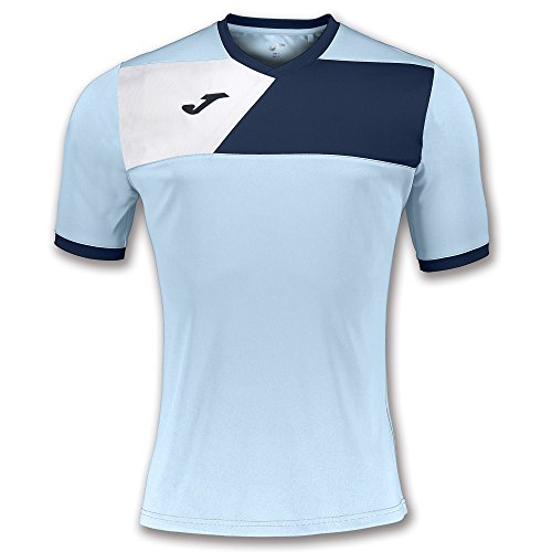 Joma Crew II Camiseta de Juego Manga Corta, Hombre, Multicolor (Azul Celeste/Azul Marino), M