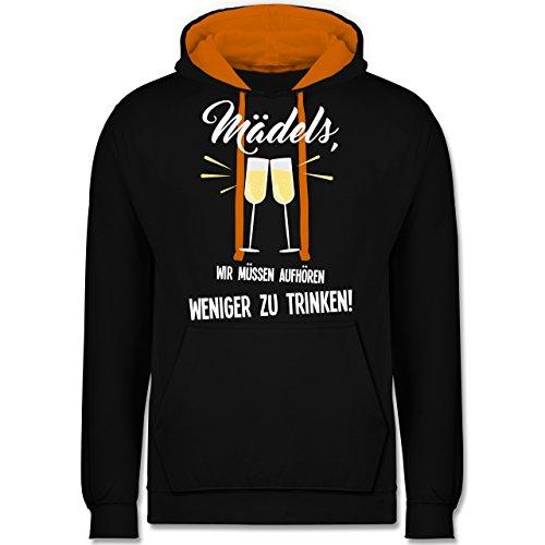 Statement Shirts - Mädels, wir müssen aufhören weniger zu trinken - Kontrast Hoodie Schwarz/Orange
