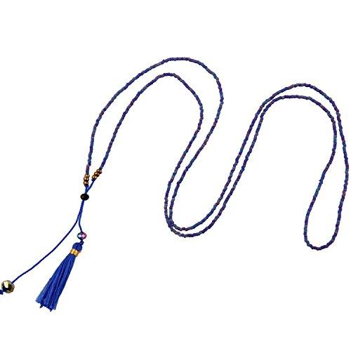 KELITCH Halskette für Frauen Charm Kristall Matte Rocailles Perlen Kette Damen-Halskette mit Quaste Anhänger Anhänger - Blau Lila (Blaue Perlen Halskette)