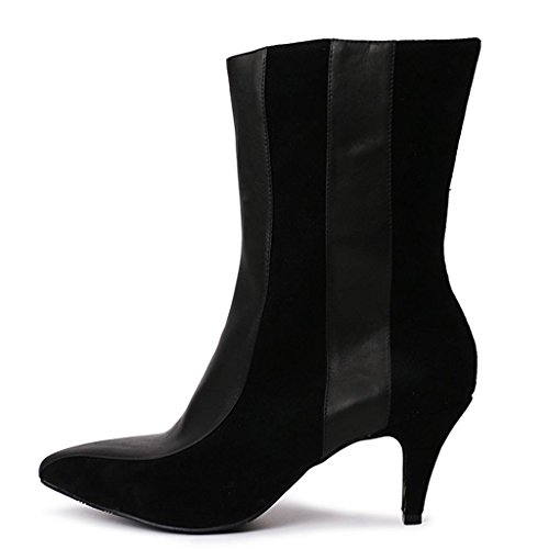 Stivali da donna autunno e invernale con tacco alto Taglia larga Tacco alto Negli stivali appuntito Stivali femminili 8075FD , Black , 39 BLACK-43