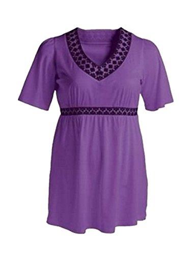 AILIENT Donne Bluse Casual Estive Camicie Manica Corta Maglietta Taglie Forti T-Shirt V-collo Camicetta Loose Tops Classico Purple