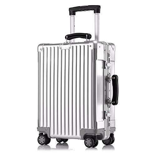 Business Metall Trolley, 19 Zoll Retro Boarding Gepäck/Mute Caster/TSA Zoll Passwort Lock - Männer und Frauen Mode Box,Silver -