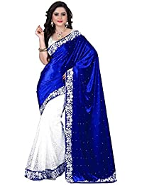 Sarees New Collection Latest Sarees Women's Velvet Saree (Blue And White) (Saree Centre Sarees For Women Party...