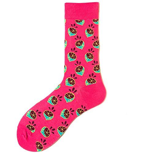 DUJUN Frauen Mädchen Cartoon Obst Stickerei Socken Warme Weiche Elastische Hohe Strick Socken,Obstserie Herren- und Damensocken 5 Paar A9 36-43 -