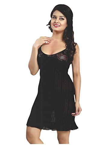 Indiatrendzs Women Sexy Transparent Black Hot Short Night Dress With Lingerie set Pack Of 3