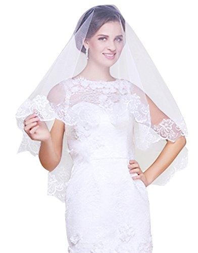 FakeFace 1.5m Kathedrale Brautschleier Stickerei Braut Hochzeit Schleier Tüll Spitze Kante Brautkleid Schärpe Deko,kurz,weiß