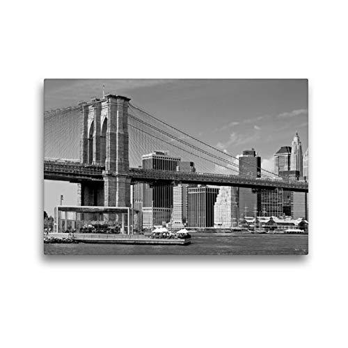 Calvendo Premium Textil-Leinwand 45 cm x 30 cm quer, Brooklyn Bridge Monochrom | Wandbild, Bild auf Keilrahmen, Fertigbild auf echter Leinwand, Leinwanddruck: Manhattan Skyline Orte Orte -