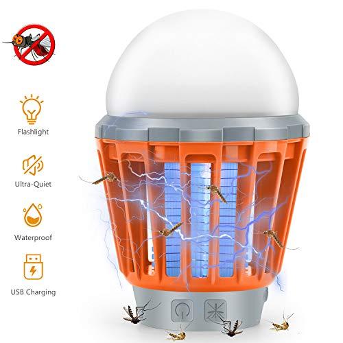 Flyton lampada elettronica portatile 2 in 1 per tenda da campeggio, impermeabile, ricaricabile, per escursionismo, interni ed esterni (arancione)