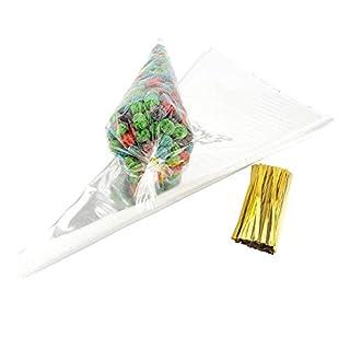 JZK 100 transparent Kegel Gebäck Plastiktüten Bonbons Tüten Plätzchen Flachbeutel Süßigkeiten Bodenbeutel mit Gold Band für Hochzeit Geburtstag Babyparty Kinderparty