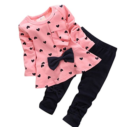 Koly® Newborn Baby Clothing Sets Long-Sleeved Heart-shaped Print Bow Cute 2PCS Kids Set T shirt + Pants