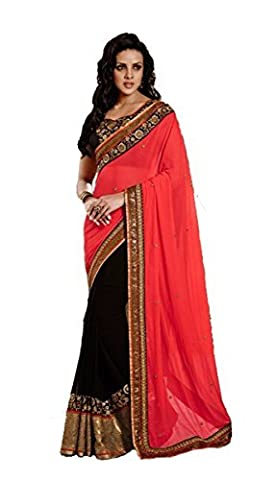 JHTEX FASHION INDIAN WOMENS DESIGNER PINK GEORGETTE FANCY SAREE WHITH BLOUSE AND PARTY WEAR SAREE DIWALI SPECIAL SAREE