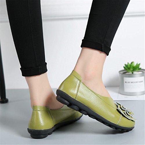 Socofy Donne Mocassini da Donna Primavera/Estate Vintage Fiori Fatto A Mano Pelle Scarpe Stile Loafers Comode Slip On Scarpe Espadrillas Scarpe da Guida Scarpe da Passeggio Verde