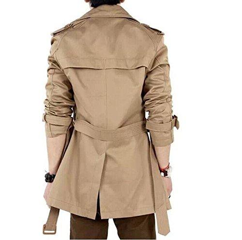 BININBOX® Herren fashionable zweireihigen Anzug slim fit Jacke Mantel mit Gürtel Outwear aus Baumwolle Kaki